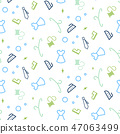 Cleaning service seamless pattern. Line icons household equipment background. Packaging concept for 47063499