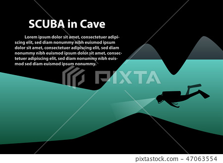 Scuba in cave background with space, vector art 47063554