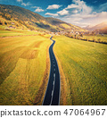 Aerial view of the road in mountain valley  47064967