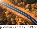 Aerial view of the road in forest at sunset 47064972