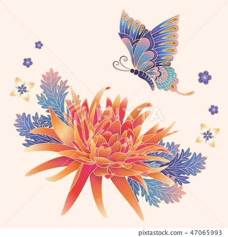 Elegant chrysanthemum and butterfly 47065993