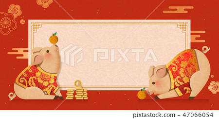 Cute piggy wearing traditional costumes 47066054