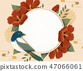 Hibiscus and magpie background 47066061