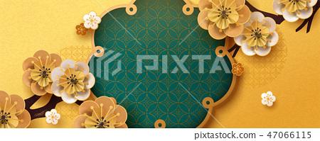 Paper art flower banner 47066115
