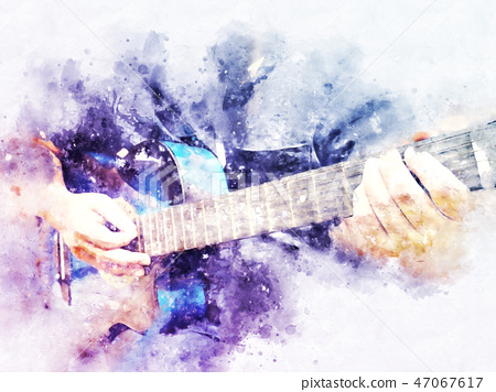 Abstract man playing acoustic guitar watercolor. 47067617