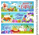 Easter bunnies with eggs, flowers and chicks 47070008