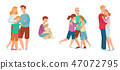 Vector flat family characters hugging icon set 47072795