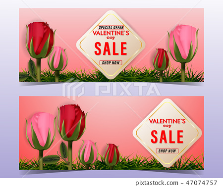 Happy Valentine's day sale with roses background  47074757