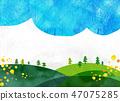 자연 풍경 언덕 산 하늘 콜라주 47075285