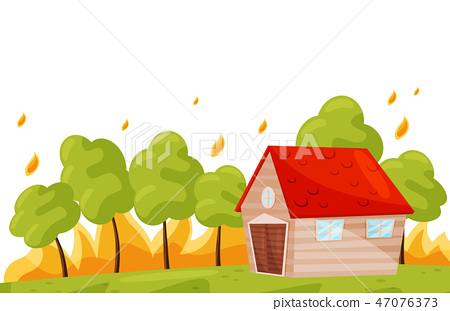 Wildfire near living house. Green trees in hot fire. Burning forest. Natural disaster. Flat vector 47076373