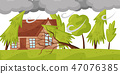 Strong wind breaks trees. Living house and huge gray clouds. Natural disaster. Windstorm theme. Flat 47076385