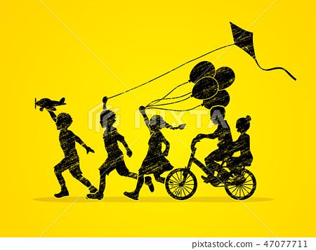 Group of  Children running, Friendship graphic  47077711