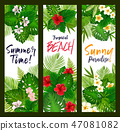 Summer time banners with tropical leaves 47081082