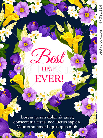 Spring Holiday greeting card with flower frame 47081114