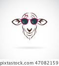 Vector of sheep wearing sunglasses. Animal farm. 47082159