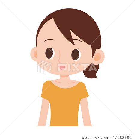 햇볕에 그을린 갈색 피부의 여성 반팔 47082180