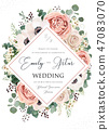 Wedding invitation, save the date card floral 47083070