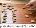 Hand of a child playing shogi 47085865