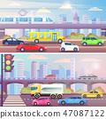 City Street with Traffic Transport Set Vector 47087122