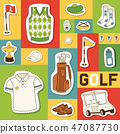 Golf vector seamless pattern golfers sportswear and golfball for playing in golfclub backdrop 47087730