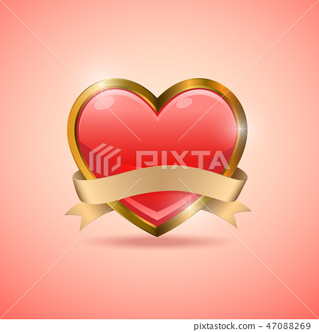 Valentine heart badge flag emblem 47088269
