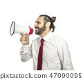 man with megaphone 47090095