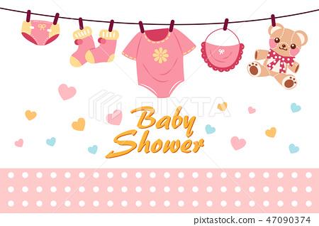 Cartoon Baby Shower Invitation Card Stock Illustration