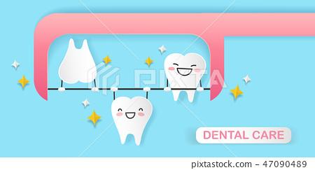 cartoon tooth playing dental floss 47090489