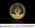 ethereum cryptocurrency coin on black 47090887