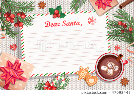 Template of Christmas Letter to Santa Claus. 47092442