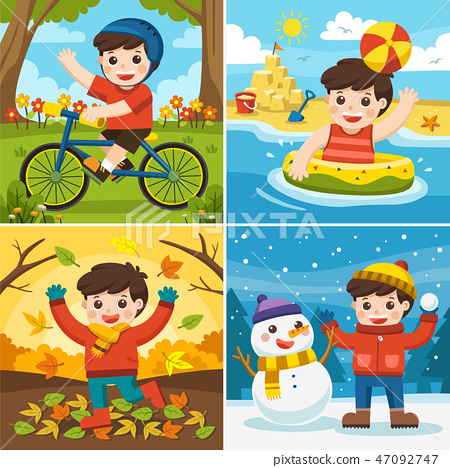 A Cute boy playing in different seasons. 47092747