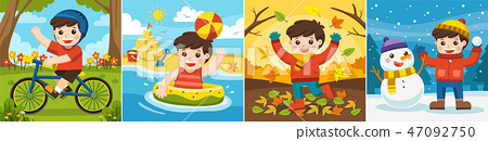 A Cute boy playing in different seasons. 47092750