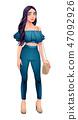 Fashion girl posing with hand on her bag 47092926