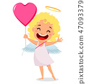 Cupid holds big pink balloon in shape of a heart 47093379