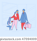 Modern cartoon flat characters family together spending happy time shopping,vector hand drawn style 47094009