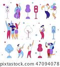 Modern flat cartoon characters set for jazz,rock music fest concept-singer,musicians,guitar,sax 47094078