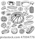 Set of Bakery and pastry products. Bread and pie, buns and cakes. Pastry. Engraved hand drawn 47094776