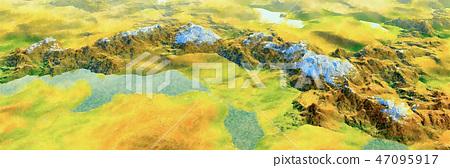新鮮細緻的手繪水彩畫:在高山景觀中全新澆水的Towa湖,鳥瞰全景 47095917
