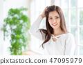 여자 긴 머리 초상화 47095979