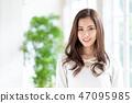 여자 긴 머리 초상화 47095985