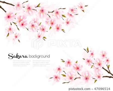 Spring background with Sakura japan cherry branch 47096514