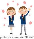 流行學校的男女衣服畢業 47096767