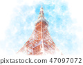 Tokyo Tower Watercolor style 47097072