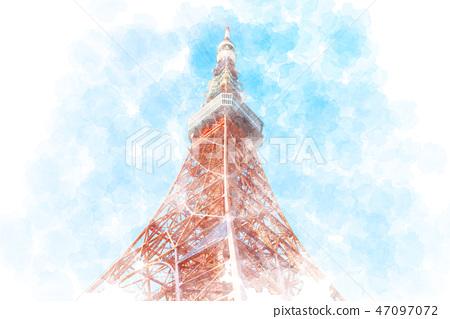 東京鐵塔水彩風格 47097072