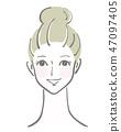 矢量图素材女人脸上的脸微笑 47097405