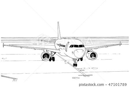 Cartoon style pen illustration Airport / plane 47101789