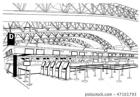 動畫片樣式筆例證機場/飛機 47101793