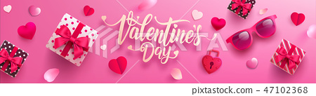 Valentines day Poster or banner with gift box 47102368