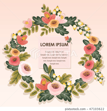 Vector illustration of a floral wreath 47103622