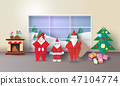 Christmas room interior with Santa claus 47104774